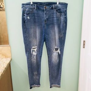 Lane Bryant Blue Distressed Embroider Floral Jeans